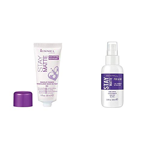 Rimmel Stay Matte Primer, 1 Ounce (1 Count), Makeup Primer, Refines Pores, Stops Shine, Smooths Skin and Rimmel Stay Matte Fix & Go 2-in-1 Primer & Setting Spray, Transparent (1 Count)