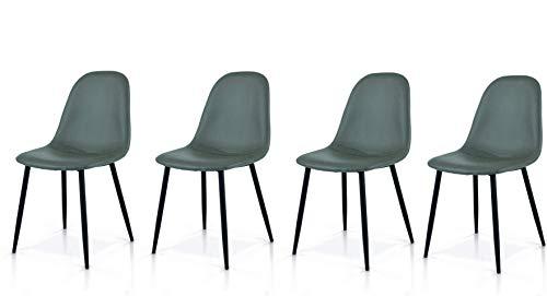 Fashion Commerce Set di 4 sedie Stile DSW in Ecopelle Grigio, Tessuto, Set 4 unità