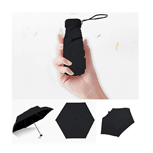 XIANBAO Small Mini Portable 5-Folding Slim Pocket Flat Umbrella, Travel...