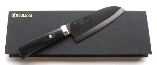 Cuchillos de cerámica Kyocera Japón serie JPN-140 Santoku-cuchillo de cocina 14 cm hoja - mango de madera de mango con funda para la hoja