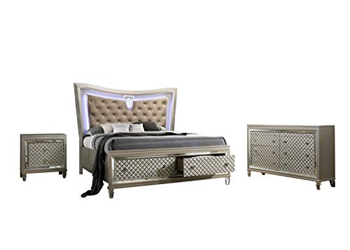 Best Quality Furniture VENETIAN 3PC (California King Bed, Dresser and Nightstand), Champagne -  VEN-CK3