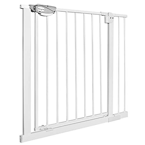 NAIZY Türschutzgitter für Kinder, Treppenschutzgitter N Stop Safety Gate mit Ohne Bohren und Metall Gitter/Erweiterbar mit separater Verlängerung / 85-95 cm breit - Weiß