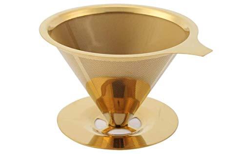 Abel Kaffeefilter aus Edelstahl Gießen Sie über Kaffeetropfer, Edelstahl-Titan-Gold-beschichtetes Kaffeetropffilter mit Tassenständer und Griff, Kaffeezubereitungszubehör