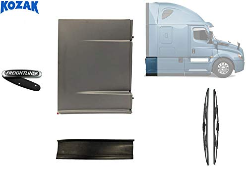 Kozak Rear Skirt Fairing Panel Right (Passenger Side Only) with Panel Stripe for Freightliner Cascadia 2017+ PLUS Freightliner Logo and Windshield Wipers