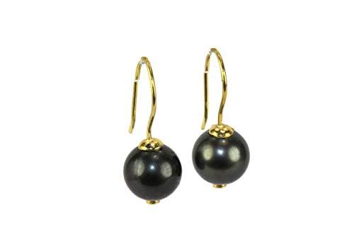 Orecchini pendenti con perle di titanio da 11,5 mm e gancio in argento 925 placcato oro