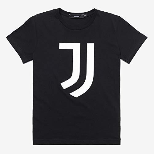 Juventus T-Shirt Nera con Logo Bianco - 100% Originale - 100% Prodotto Ufficicale - Bambino - Scegli la Taglia (Taglia 12 Anni)