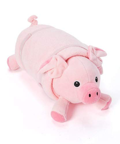 Rollee Pollee Pets Collection, Pig in a Blanket for Toddlers with Elastic Straps and Extra Top Blanket, Super Soft, Fits on Cots and Mats (Pink Pig Nap Sac)