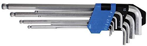 BGS 790   Winkelschlüssel-Satz   9-tlg   extra lang   Innensechskant/Innensechskant mit Kugelkopf 1,5 - 10 mm   inkl. Klapphalter