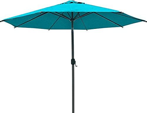 SORARA Parasol Jardin | Turquoise | Ø 300 cm / 3m | Rond Palermo | Commande à Manivelle (Pied excl.)