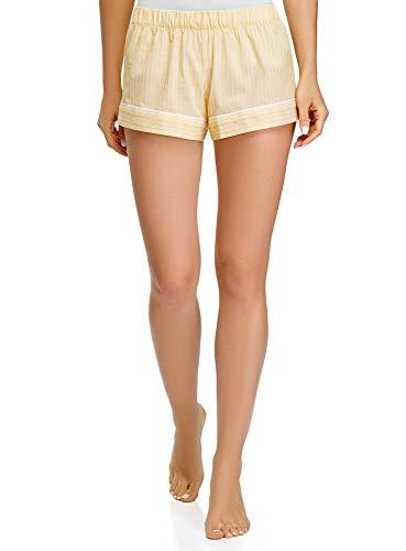 oodji Ultra Mujer Pantalones Cortos de Estar por Casa de Algodón, Amarillo, ES 42 / L