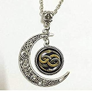 Charm Crescent Moon Never Ending Story Auryn Ouroboros Vintage Wish Photo Pendant Necklace Fantasy Fantasia Bastian Gmork Atreyu Falkor