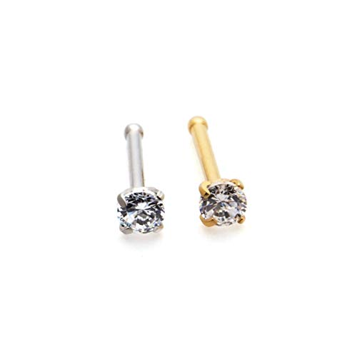 XPWOZ 2 mixed color zircon nose studs for ladies fashion jewelry (Color : Round Silver Gold)