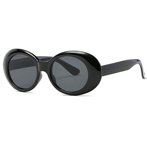 kimorn Clout Goggles gafas de sol para mujer Ovaladas marco Bisagras de metal Gafas K0567 (Negro)