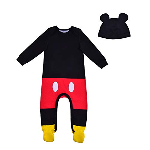 Disney Mickey Mouse Bodysuit and Hat, Footed Jumpsuit, Baby Clothes Sleepwear Set, Black & Red, Size NB