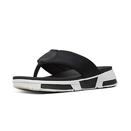 FitFlop Women's Sporty Logo Toe-Thongs Flip-Flop, Black, 9 M US