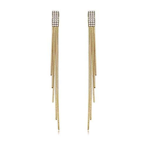 14k Gold Plated Long Tassel Dangle Drop Earrings S925 Sterling Silver Post Cubic Zirconia Bridal Earring for Woman Teen Girls Gifts