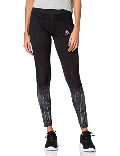 Odlo Damen Zeroweight Warm Leggings, Black - Reflective Graphic, XS