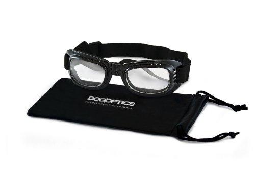Hundebrille Größe L schwarz mit klaren Gläsern Bikerbrille für Hunde Hundeschutzbrille Cabriobrille