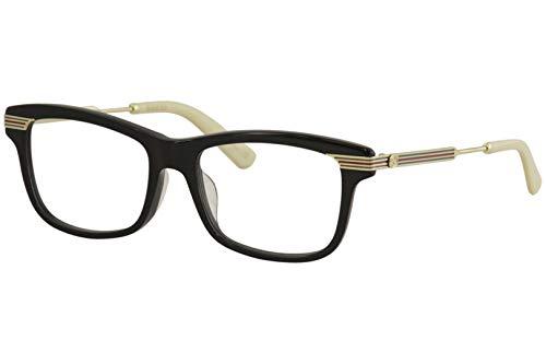 Gucci Unisex – Erwachsene GG0524O-001-52 Brillengestell, Schwarz Glänzend-Gold, 52