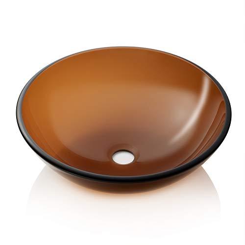 Best Price! Miligore Modern Glass Vessel Sink - Above Counter Bathroom Vanity Basin Bowl - Bronze