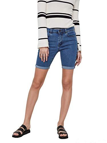 Vero Moda NOS Damen Shorts VMHOT Seven NW DNM Long F Mix NOOS, Blau (Medium Blue Denim), W(Herstellergröße: S)