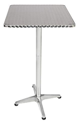 LINDER EXCLUSIV Klappbarer Aluminium Gartentisch Bistrotisch/Stehtisch Höhenverstellbar 60 x 60 cm Silber