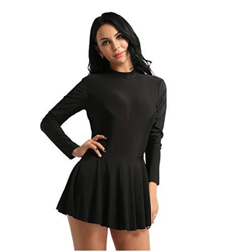 inlzdz Mujer Vestido de Patinaje Artistico Mailot Manga Larga Color Sólido Vestido de Baile Falda Plisada Dancewear Leotardo Básico para Gimnasia Negro Large