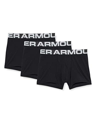 Under Armour Charged Cotton 3in 3 Pack, elastische und schnelltrocknende Boxershorts, extra bequeme Unterhosen mit 4-Way-Stretch im 3er-Pack Herren, Black / Black / Black , L