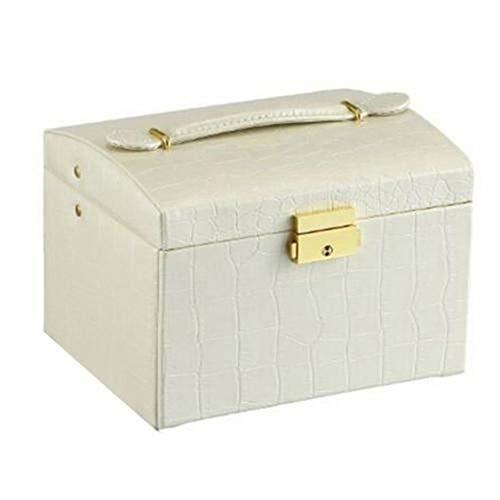 Nouveau Faux Bijoux en Cuir boîte FashionNecklace Boucle d'oreille Bracelet boîte de Rangement Cabinet (Couleur : Beige)