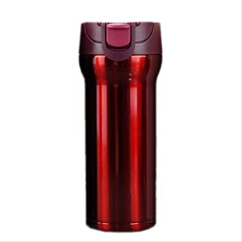 WEQRT Edelstahl-Isolierflasche Isolierbecher 304 Edelstahl Auto Kaffeetasse Geschenkbecher 400Ml Rot