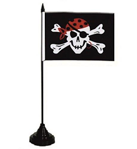 U24 tafelvlag piraat met oorbel vlag vlag tafelvlag 10 x 15 cm