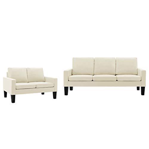 vidaXL Sofa 3-Sitzer Couch Polstersofa Loungesofa Ledersofa Sitzmöbel Wohnzimmersofa Designsofa Polstermöbel Creme Kunstleder Holzrahmen