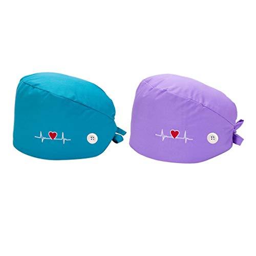 Bonarty 2PCS Gorra Médica Estampada para Mujer con Botones Turbante Gorro de Algodón Bouffant