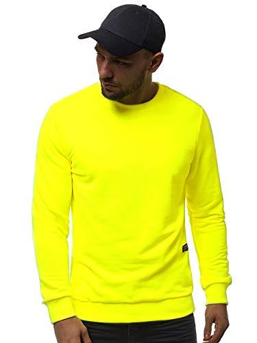 OZONEE Herren Sweatshirt Pullover Langarm Farbvarianten Langarmshirt Pulli ohne Kapuze Baumwolle Baumwollemischung Classic Basic Rundhals-Ausschnitt Sport OZONEE 777/7828B M GELB-NEON