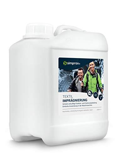 simprax® Textil Imprägnierung Wash-In - 2,5l Kanister - Umweltfreundlicher Einwaschimprägnierer für Funktionstextilien/Outdoortextilien wie Gore-Tex, Sympatex, Softshell - Waschmaschine/Handwäsche