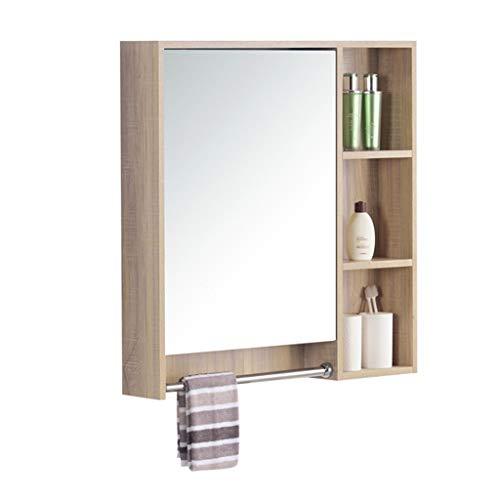 Armoire de toilette murale en bois massif armoire de toilette armoire de toilette avec miroir de chambre avec porte-serviettes armoire de toilette (Color : Wood color, Size : 80 * 70 * 12.5cm)