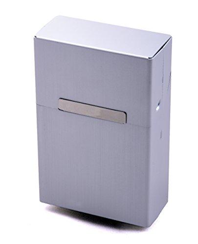 LK Trend & Style Zigarettenbox Kansas Metall Alu Silber + 2 Pappschuber Gratis für Gr. L mit 20 Zigaretten - mehrere Farben wählbar