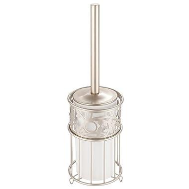 InterDesign Vine Toilet Bowl Brush and Holder - Bathroom Cleaning Storage, White/Satin