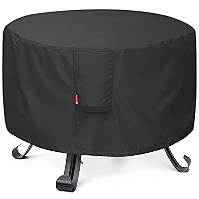 """SheeChung Fire Pit Cover - Waterproof 600D Heavy Duty Round Patio Fire Bowl Cover Black (Round - 32""""D x 16""""H)"""