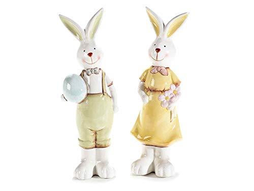 Gruppo Maruccia Conigli Decorativi per la Pasqua Set 2 di Conigli Pasquali Decorativi in Ceramica Colorata