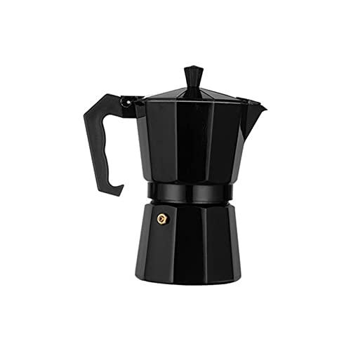 Cafetera olla olla aluminio moca expreso percolador olla cafetera casero al aire libre hucha cafetería herramientas astilla rojo negro (Color : Black 300ml)
