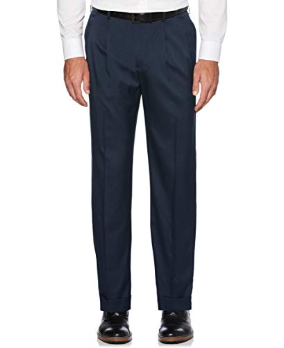 Savane Men's Pleated Stretch Crosshatch Dress Pant, Total Eclipse, 40W x 34L