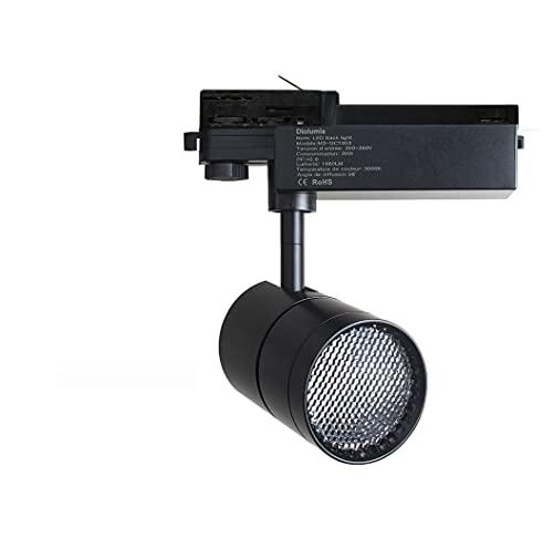 Diolumia Faretto LED trifase COB su binario 20W 1680LM Bianco Neutro 4000K Angolo di diffusione 38° LED COB Cree Trasformatore Lifud – IRC85 Proiettore LED su binario 3 fasi alluminio nero