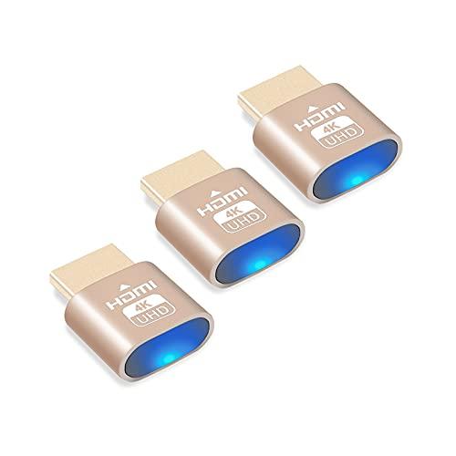 BTC Mining HDMI Dummy Plug, Joycabin 4K Headless Ghost Display Emulator, 3840 x 2160 hochauflösende virtuelle Display-Adapter, kompatibel mit Windows Mac OSX – 3 Packungen