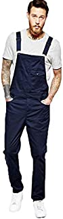 Mikely store Mens Loose Fit Denim Dungarees Overalls Jumpsuit Playsuit Jeans Trousers