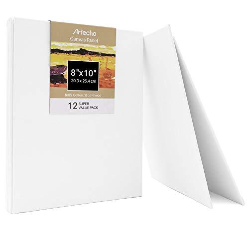 Artecho Panel de lienzo de 20 x 25 cm, blanco en blanco, paquete de 12 lienzos de pintura artística, imprimado 100% algodón, para pintura, vertedor acrílico, pintura al óleo y medios de artista.