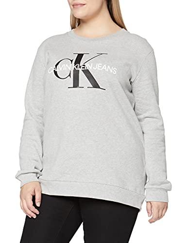 Calvin Klein Jeans Damen CORE Monogram Logo Sweatshirt, Grau (Light Grey Heather 038), Medium (Herstellergröße: M)