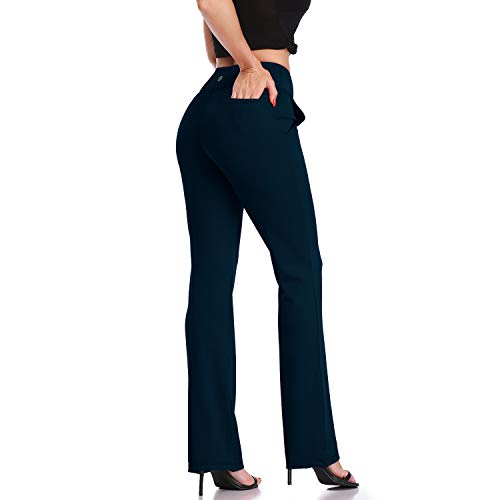 DAYOUNG Womens Bootcut Yoga Pants High Waist Flared Long Bootleg Trousers for Running Pants YWK21 Indigo Blue S