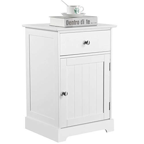 Yaheetech Mesita de Noche Blanca 35 x 40 x 60 cm con Cajón Muebles Auxiliar de Madera Mesilla Blanca para Dormitorio Sala de Estar