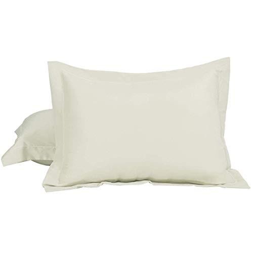 N/D - Juego de 2 fundas de almohada Oxford de microfibra cepillada, suave, plis, resistente a las manchas, color beige Queen (20'x30)